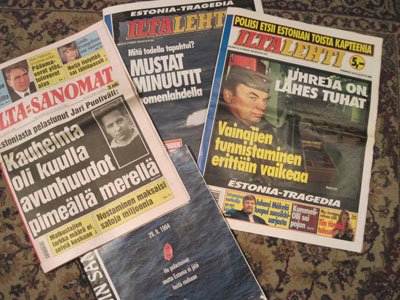 Newspapers about Estonia tragedy