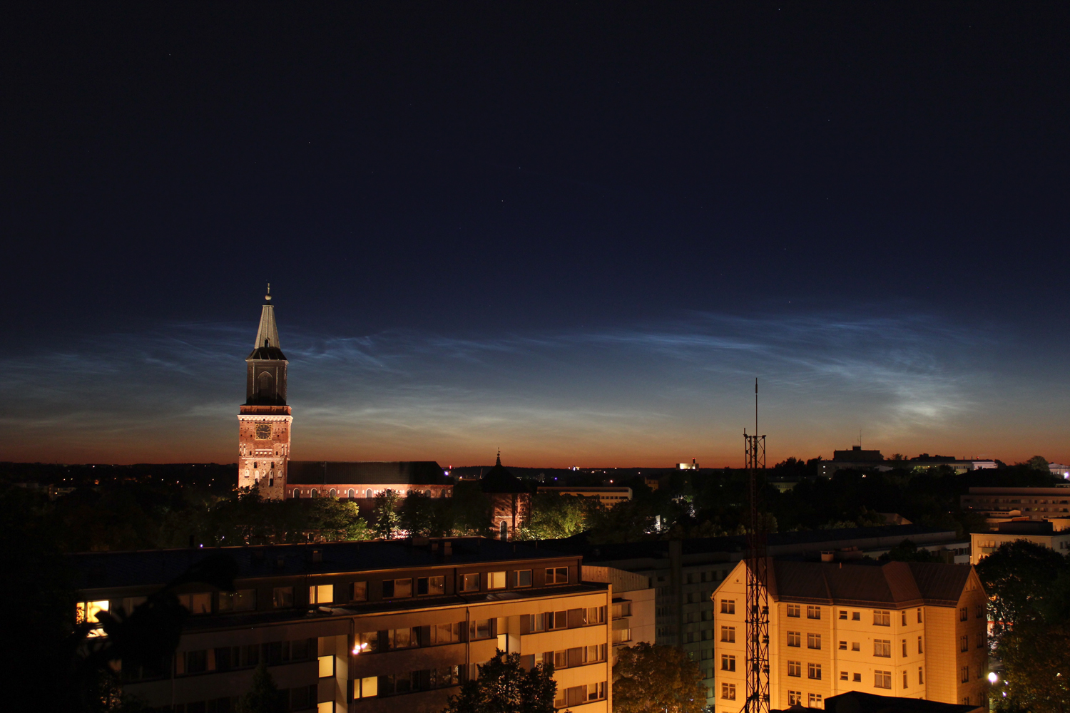 Turku Cathedral with noctilucent clouds